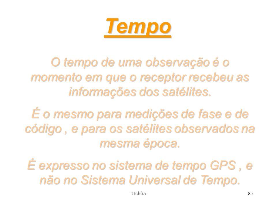 Uchôa86 Definições As observações GPS possuem 3 grandezas que precisam ser bem definidas : TempoPseudo-DistânciaFaseDoppler