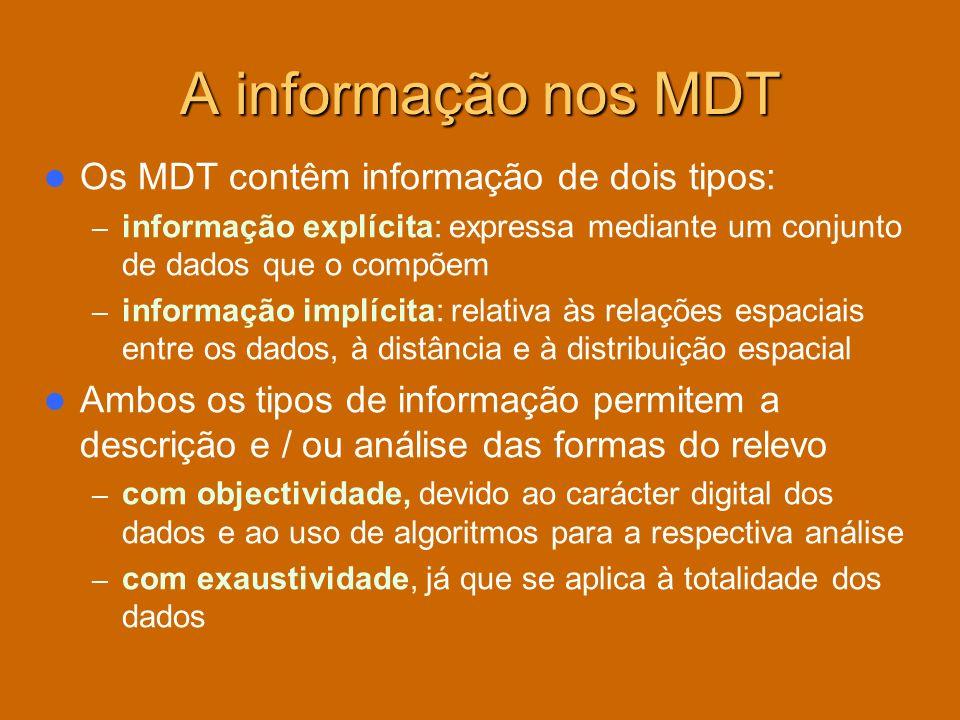 A informação nos MDT Os MDT contêm informação de dois tipos: – informação explícita: expressa mediante um conjunto de dados que o compõem – informação