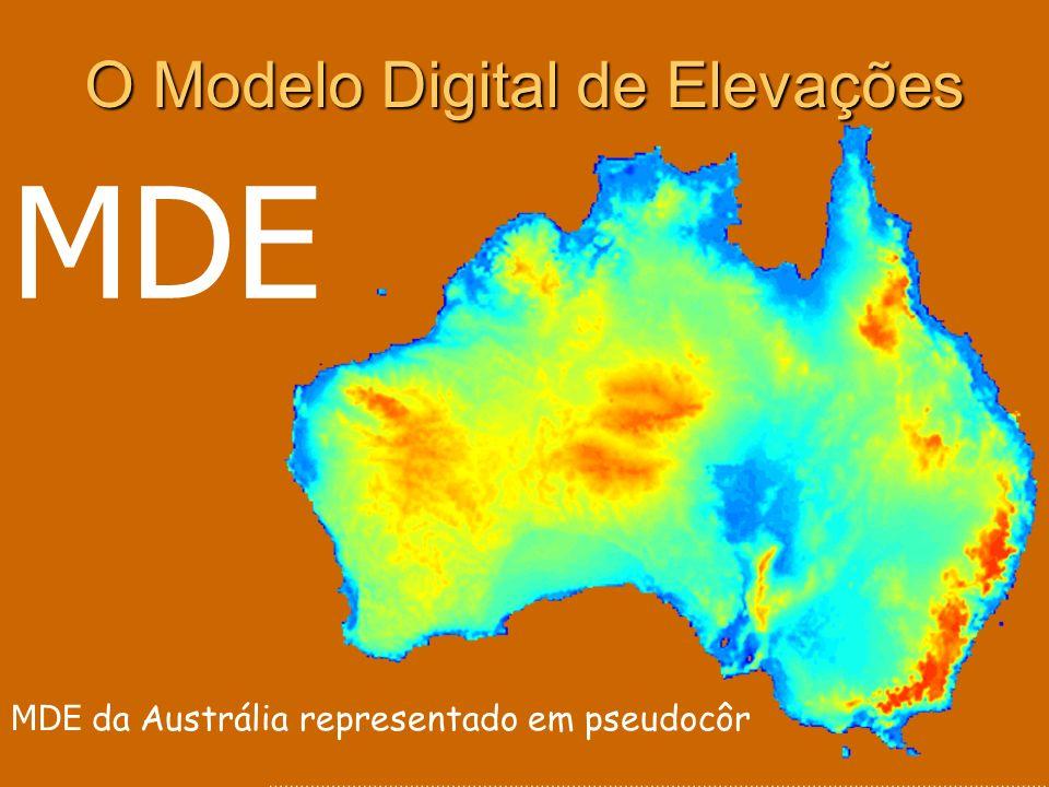 Conceito de Modelo Digital de Elevações Um MDE é uma estrutura numérica de dados que representa a distribuição espacial de variáveis reais através de uma função contínua bivariável z = (x, y) Aplica-se sobre um domínio espacial D : MDE = (D, z) Normalmente no MDE a função resolve-se segundo intervalos discretos de x e y pelo que é composto por um número finito de valores MDE = (D, ) x, y