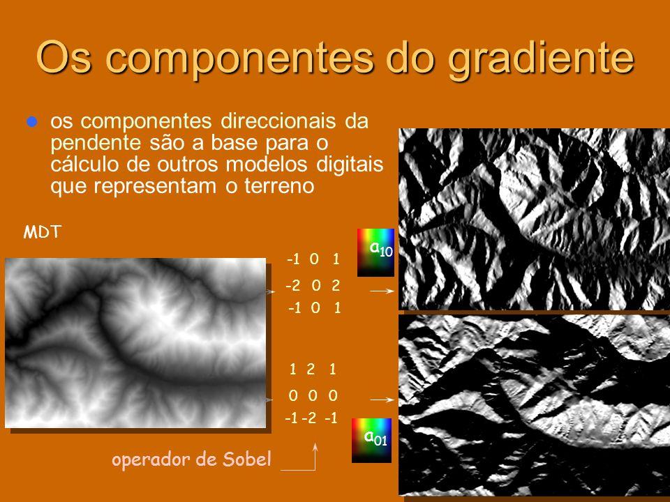 Os componentes do gradiente os componentes direccionais da pendente são a base para o cálculo de outros modelos digitais que representam o terreno 121