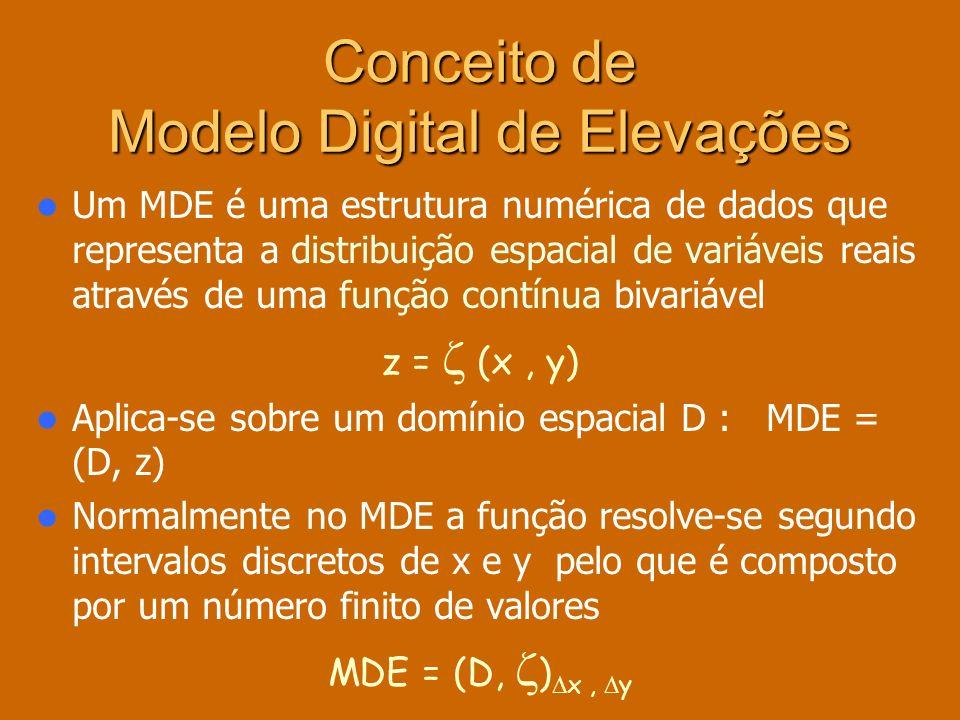 As estruturas de dados no MDE MATRIZES QUADTREES TIN CONTORNOS VECTORIAIS RASTER Os valores organizam-se em estruturas de dados – as estruturas vectoriais representam entidades ou objectos definidos pelas coordenadas dos nós e vértices – as estruturas raster representam localizações que têm atribuído o valor médio da variável para uma unidade de superfície ou quadrícula