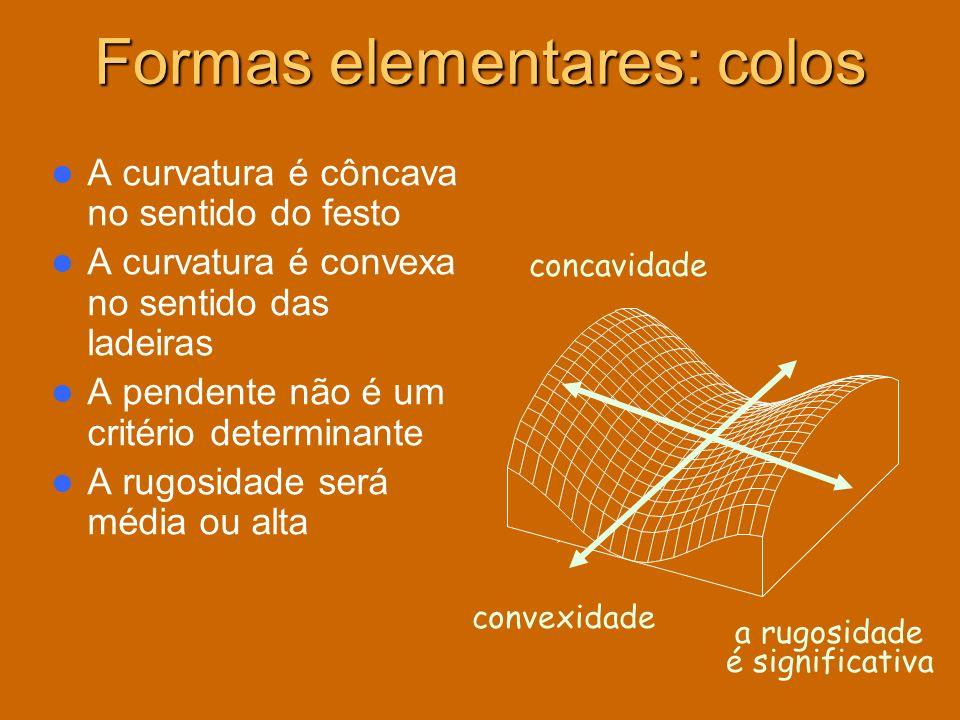 A curvatura é côncava no sentido do festo A curvatura é convexa no sentido das ladeiras A pendente não é um critério determinante A rugosidade será mé