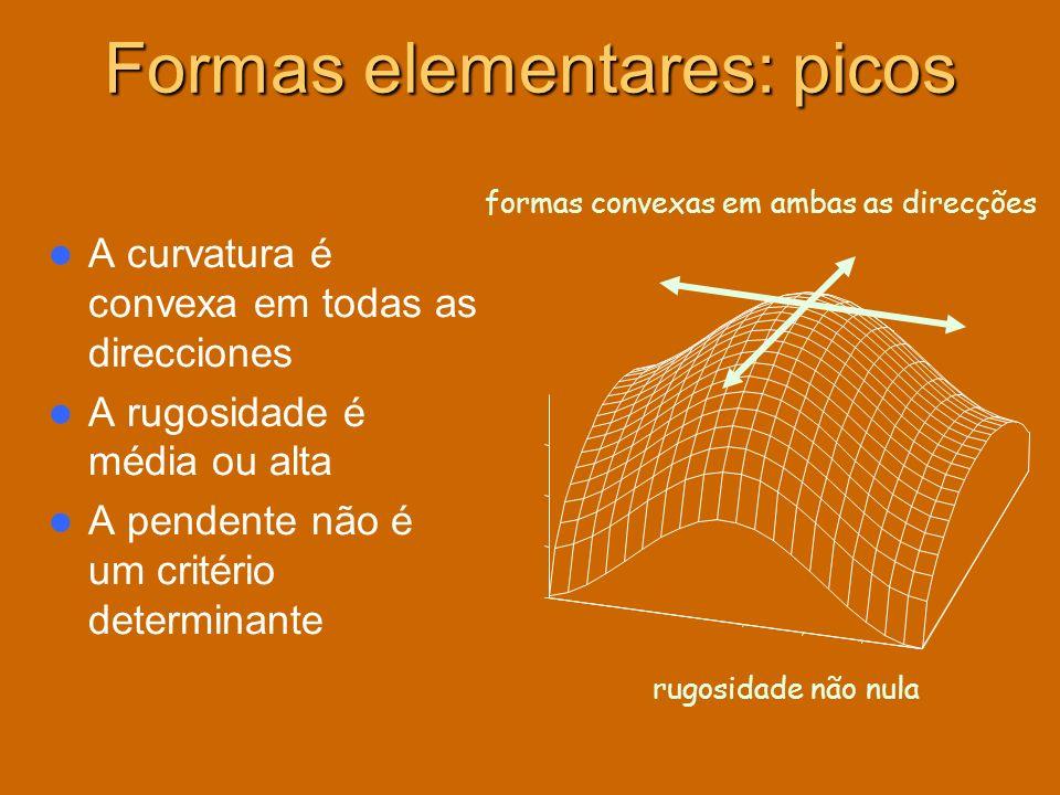 A curvatura é convexa em todas as direcciones A rugosidade é média ou alta A pendente não é um critério determinante formas convexas em ambas as direc