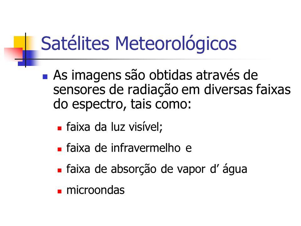 As imagens são obtidas através de sensores de radiação em diversas faixas do espectro, tais como: faixa da luz visível; faixa de infravermelho e faixa