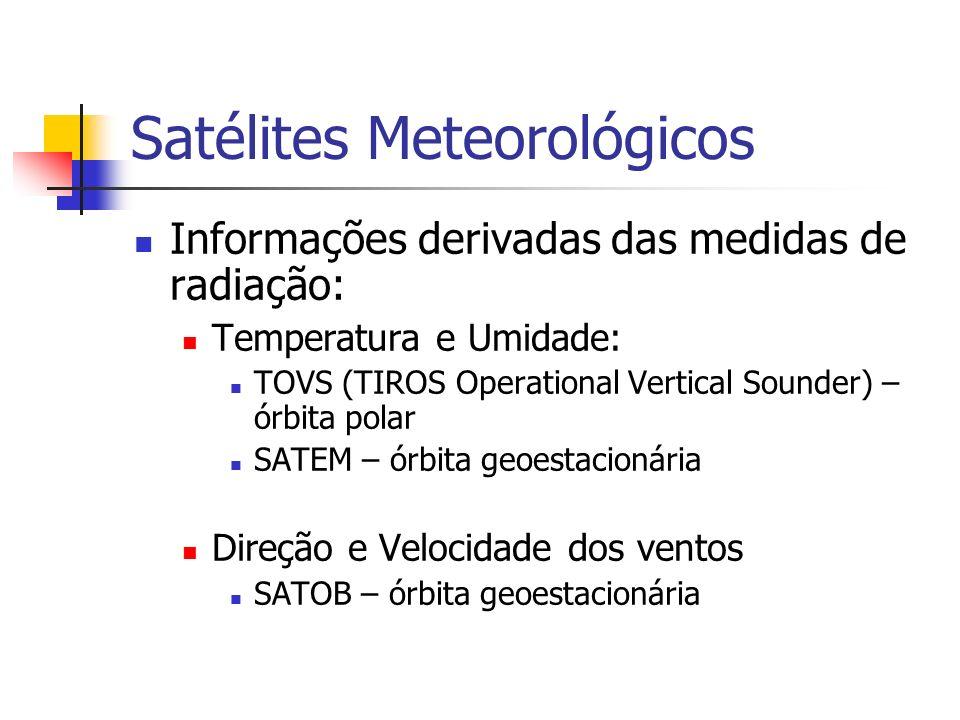Satélites Meteorológicos Informações derivadas das medidas de radiação: Temperatura e Umidade: TOVS (TIROS Operational Vertical Sounder) – órbita pola
