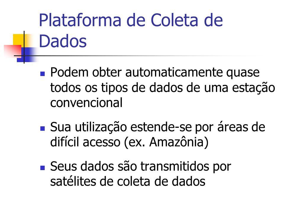 Plataforma de Coleta de Dados Podem obter automaticamente quase todos os tipos de dados de uma estação convencional Sua utilização estende-se por área