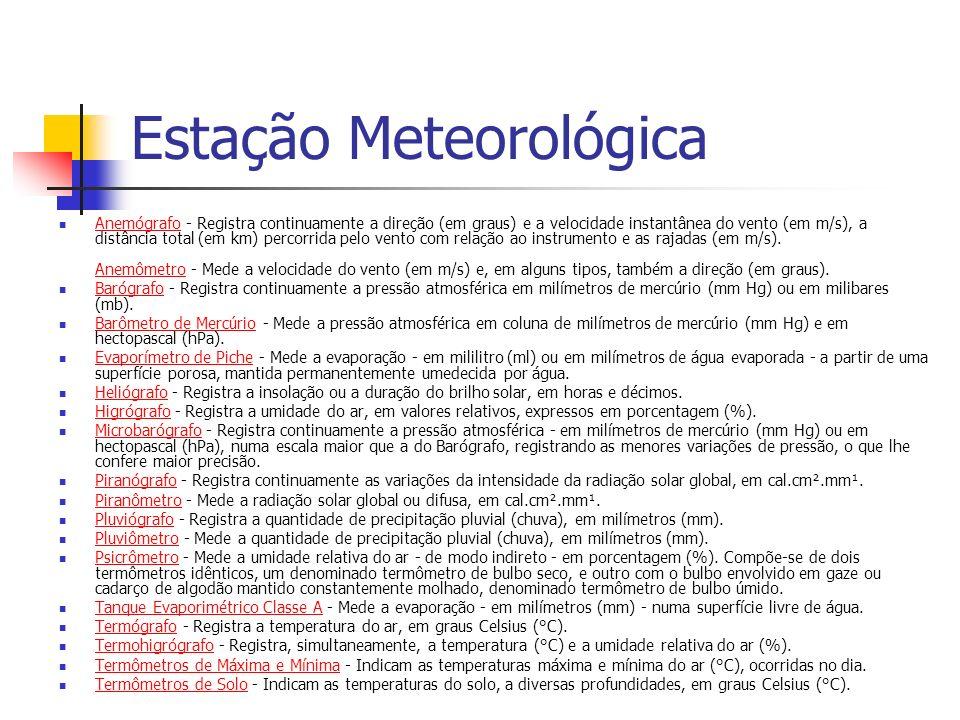 Estação Meteorológica Anemógrafo - Registra continuamente a direção (em graus) e a velocidade instantânea do vento (em m/s), a distância total (em km)