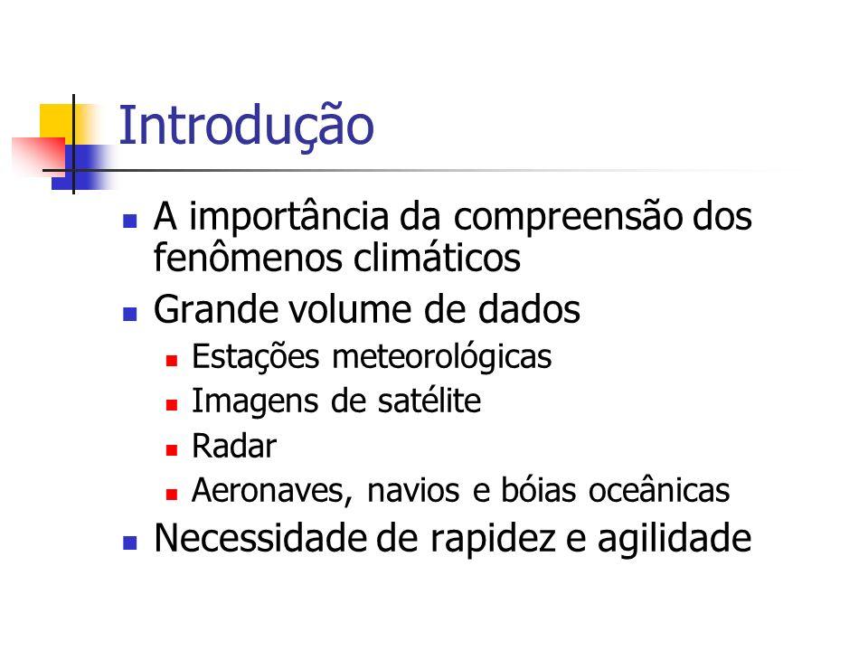 Introdução A importância da compreensão dos fenômenos climáticos Grande volume de dados Estações meteorológicas Imagens de satélite Radar Aeronaves, n