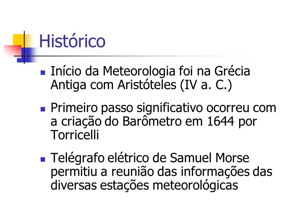 Histórico Início da Meteorologia foi na Grécia Antiga com Aristóteles (IV a. C.) Primeiro passo significativo ocorreu com a criação do Barômetro em 16