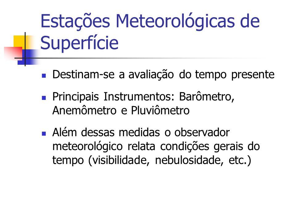 Estações Meteorológicas de Altitude Destinam-se a determinação da estrutura vertical da atmosfera Principais Instrumentos: radiossondas, sensores de temperatura, umidade e pressão Lançadas por balões, atingem até 40 Km de altitude