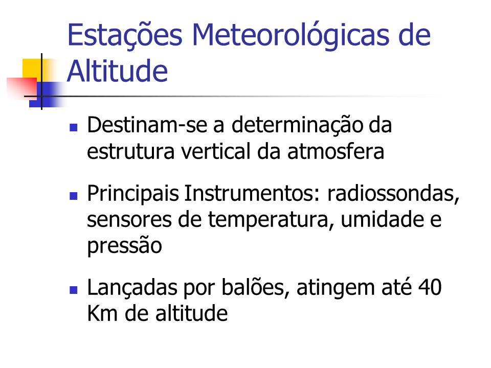 Estações Meteorológicas de Altitude Destinam-se a determinação da estrutura vertical da atmosfera Principais Instrumentos: radiossondas, sensores de t