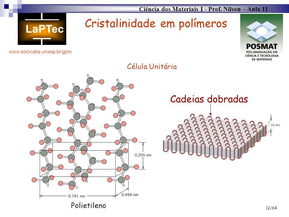 Ciência dos Materiais I - Prof. Nilson – Aula 11 www.sorocaba.unesp.br/gpm 12/64 Cristalinidade em polímeros Cadeias dobradas Polietileno Célula Unitá