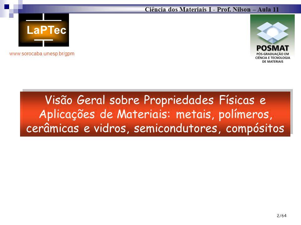 Ciência dos Materiais I - Prof. Nilson – Aula 11 www.sorocaba.unesp.br/gpm 2/64 Visão Geral sobre Propriedades Físicas e Aplicações de Materiais: meta