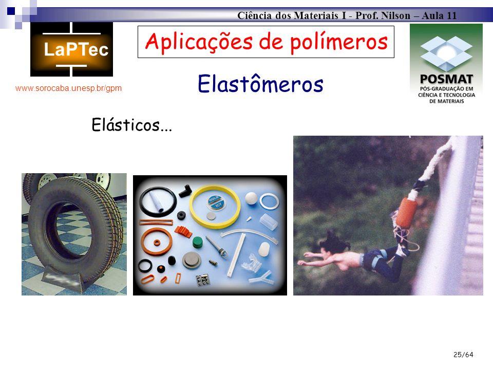 Ciência dos Materiais I - Prof. Nilson – Aula 11 www.sorocaba.unesp.br/gpm 25/64 Elastômeros Aplicações de polímeros Elásticos...