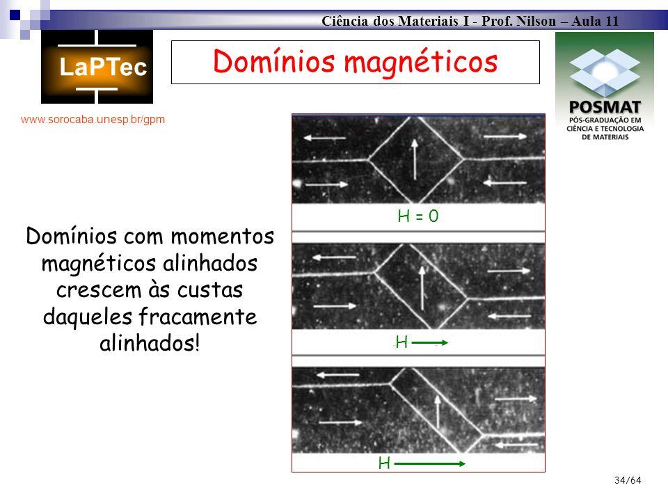 Ciência dos Materiais I - Prof. Nilson – Aula 11 www.sorocaba.unesp.br/gpm 34/64 Domínios magnéticos Domínios com momentos magnéticos alinhados cresce