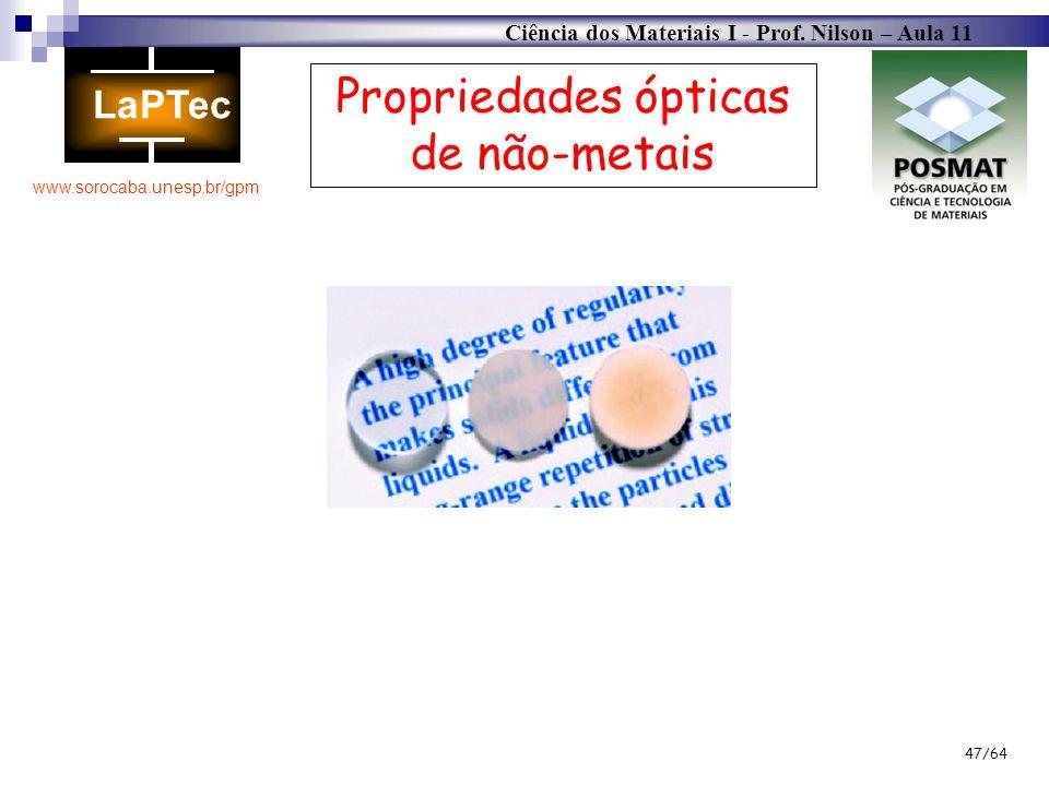 Ciência dos Materiais I - Prof. Nilson – Aula 11 www.sorocaba.unesp.br/gpm 47/64 Propriedades ópticas de não-metais