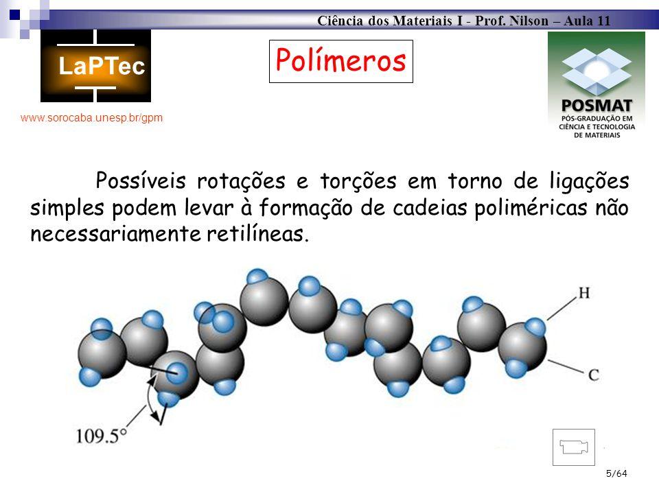 Ciência dos Materiais I - Prof. Nilson – Aula 11 www.sorocaba.unesp.br/gpm 5/64 Polímeros Possíveis rotações e torções em torno de ligações simples po