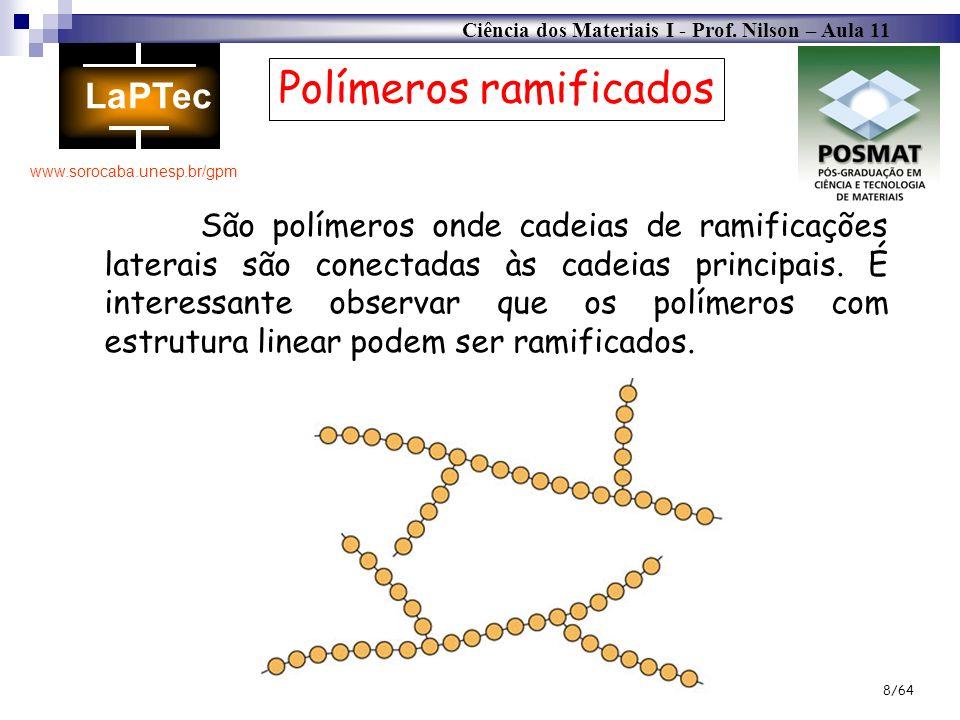 Ciência dos Materiais I - Prof. Nilson – Aula 11 www.sorocaba.unesp.br/gpm 8/64 Polímeros ramificados São polímeros onde cadeias de ramificações later