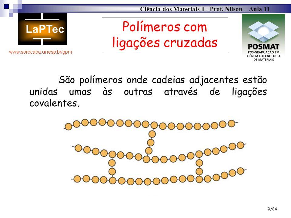 Ciência dos Materiais I - Prof. Nilson – Aula 11 www.sorocaba.unesp.br/gpm 9/64 Polímeros com ligações cruzadas São polímeros onde cadeias adjacentes
