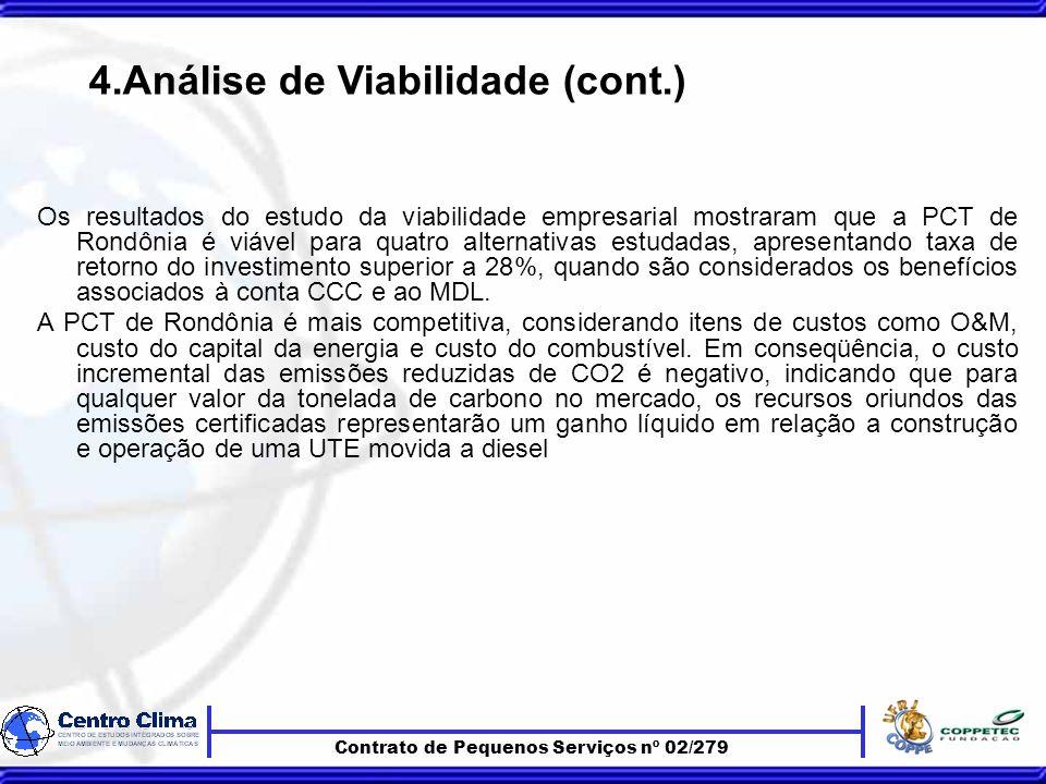 Contrato de Pequenos Serviços nº 02/279 Os resultados do estudo da viabilidade empresarial mostraram que a PCT de Rondônia é viável para quatro alternativas estudadas, apresentando taxa de retorno do investimento superior a 28%, quando são considerados os benefícios associados à conta CCC e ao MDL.