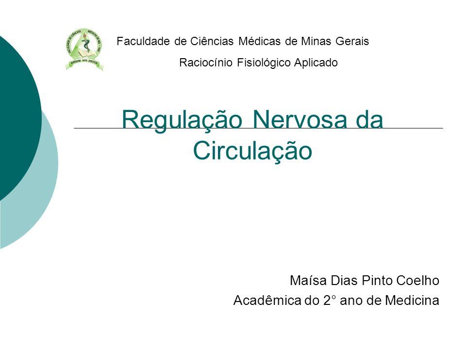 Regulação Nervosa da Circulação Maísa Dias Pinto Coelho Acadêmica do 2° ano de Medicina Faculdade de Ciências Médicas de Minas Gerais Raciocínio Fisio