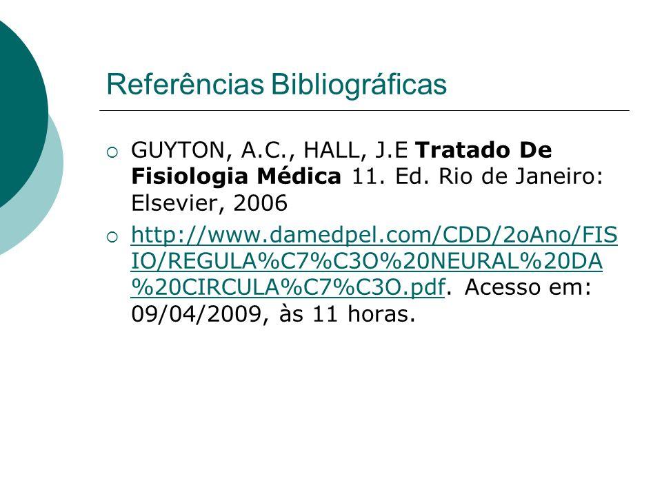 Referências Bibliográficas GUYTON, A.C., HALL, J.E Tratado De Fisiologia Médica 11. Ed. Rio de Janeiro: Elsevier, 2006 http://www.damedpel.com/CDD/2oA