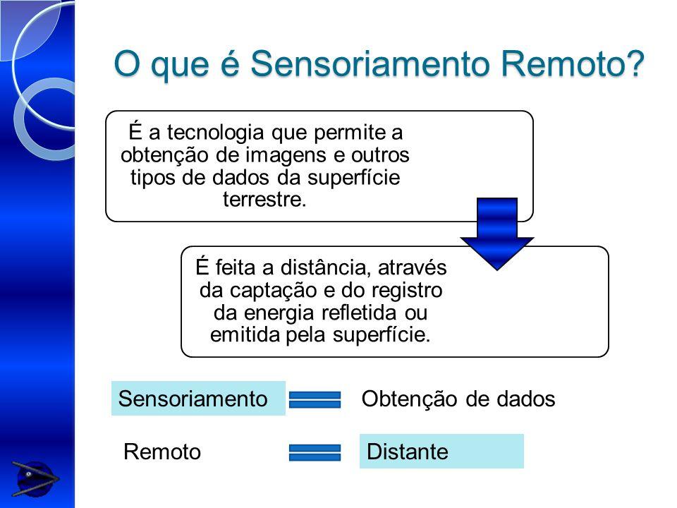 O que é Sensoriamento Remoto? É a tecnologia que permite a obtenção de imagens e outros tipos de dados da superfície terrestre. É feita a distância, a