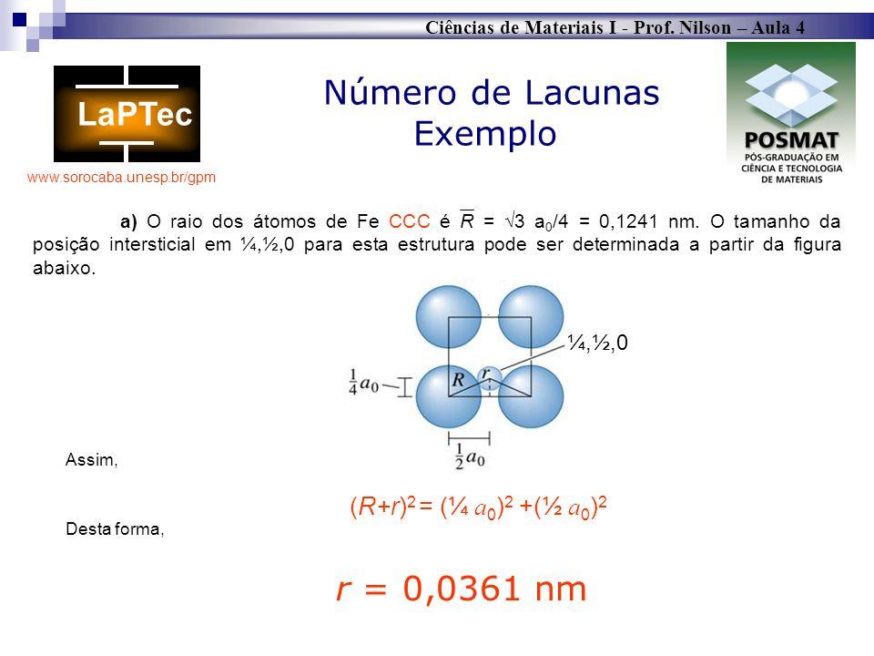Ciências de Materiais I - Prof. Nilson – Aula 4 www.sorocaba.unesp.br/gpm Número de Lacunas Exemplo a) O raio dos átomos de Fe CCC é R = 3 a 0 /4 = 0,