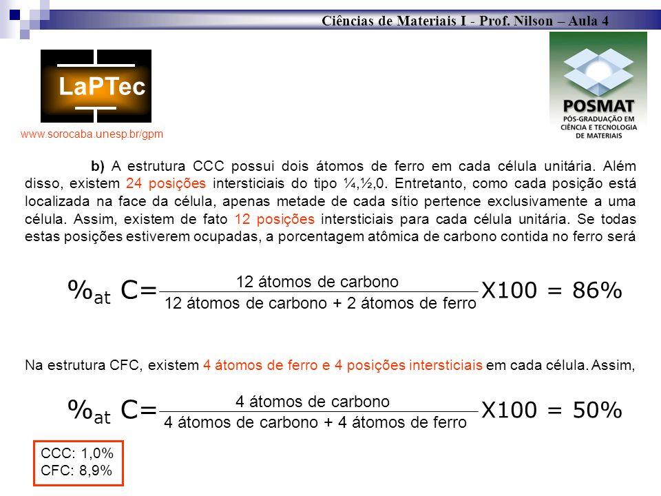 Ciências de Materiais I - Prof. Nilson – Aula 4 www.sorocaba.unesp.br/gpm b) A estrutura CCC possui dois átomos de ferro em cada célula unitária. Além