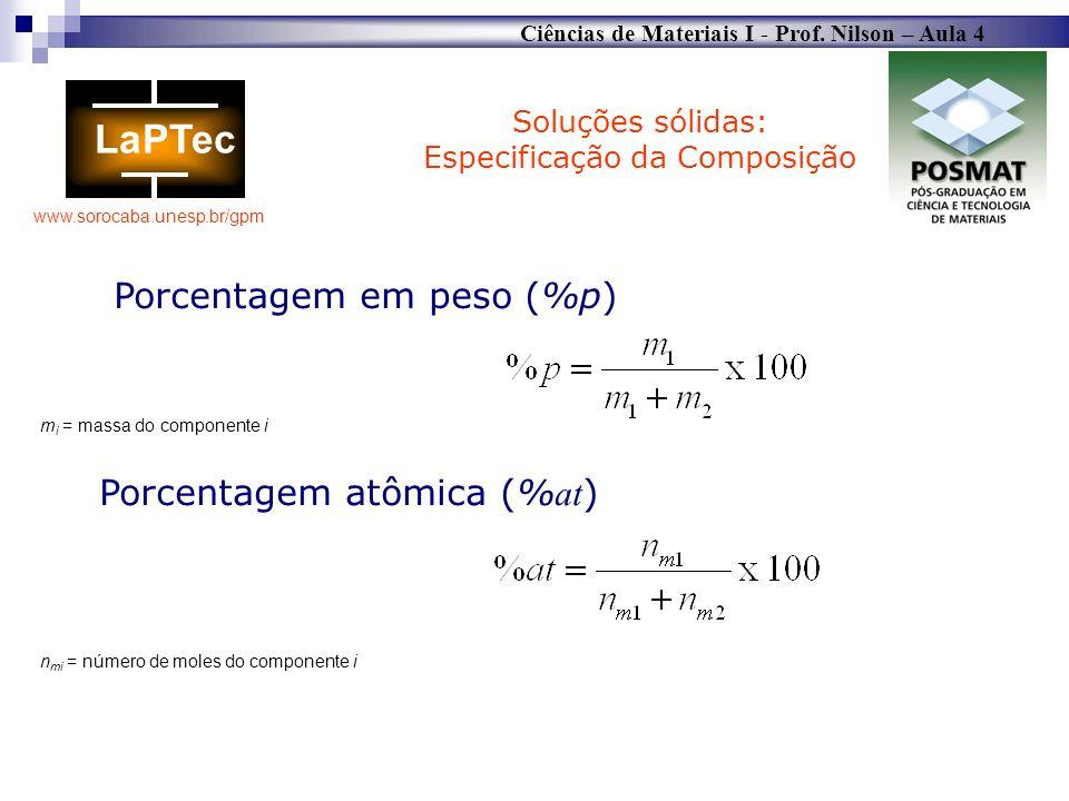 Ciências de Materiais I - Prof. Nilson – Aula 4 www.sorocaba.unesp.br/gpm m i = massa do componente i n mi = número de moles do componente i Soluções