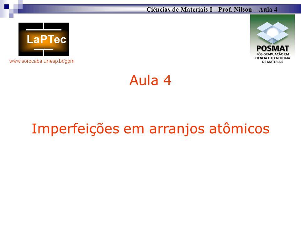 Ciências de Materiais I - Prof. Nilson – Aula 4 www.sorocaba.unesp.br/gpm Aula 4 Imperfeições em arranjos atômicos