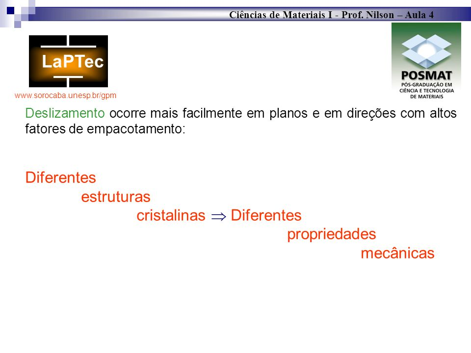 Ciências de Materiais I - Prof. Nilson – Aula 4 www.sorocaba.unesp.br/gpm Deslizamento ocorre mais facilmente em planos e em direções com altos fatore