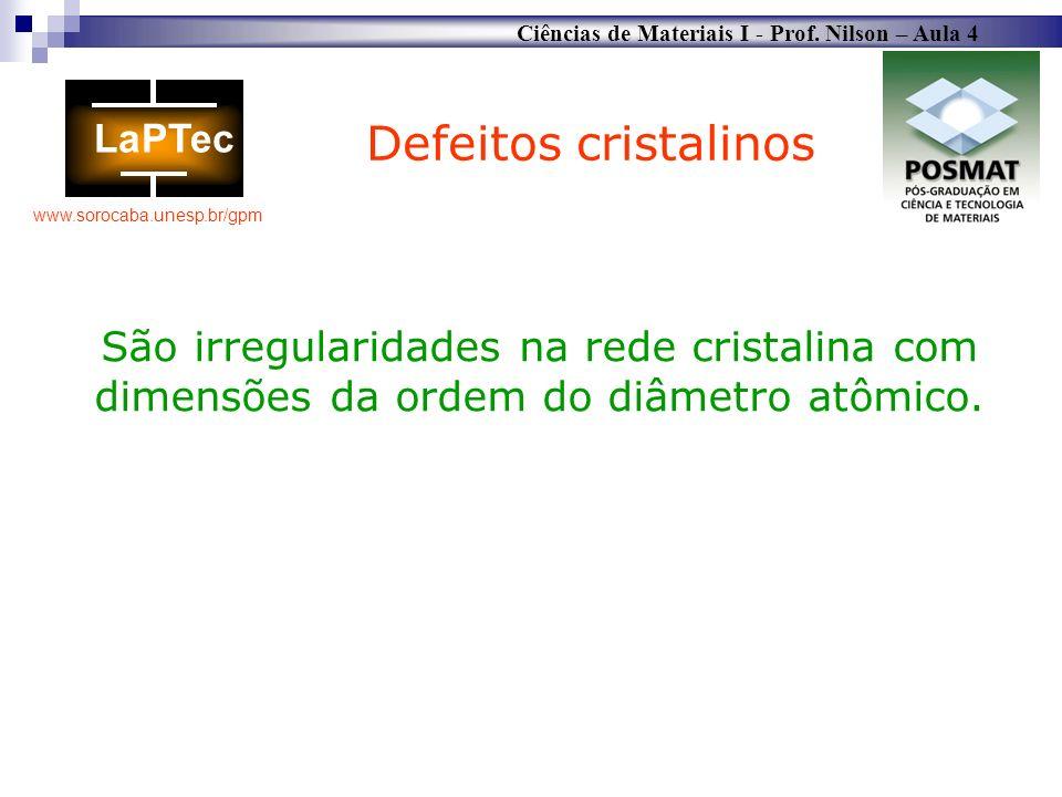 Ciências de Materiais I - Prof. Nilson – Aula 4 www.sorocaba.unesp.br/gpm São irregularidades na rede cristalina com dimensões da ordem do diâmetro at