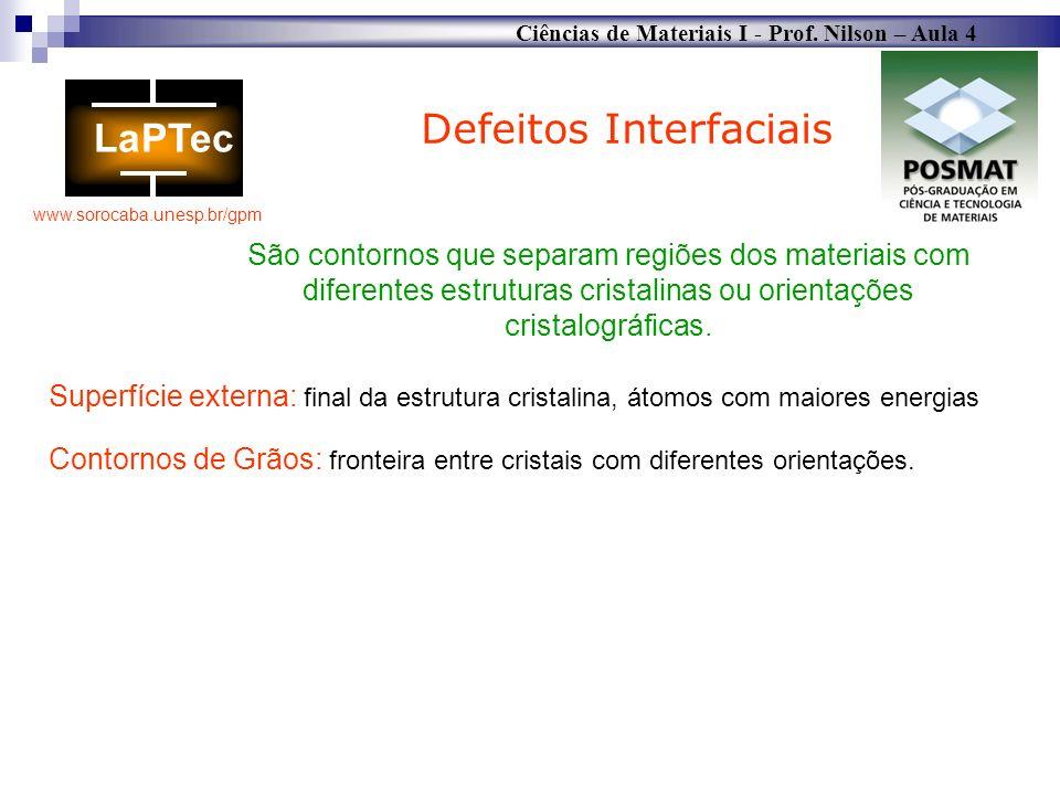Ciências de Materiais I - Prof. Nilson – Aula 4 www.sorocaba.unesp.br/gpm Defeitos Interfaciais São contornos que separam regiões dos materiais com di