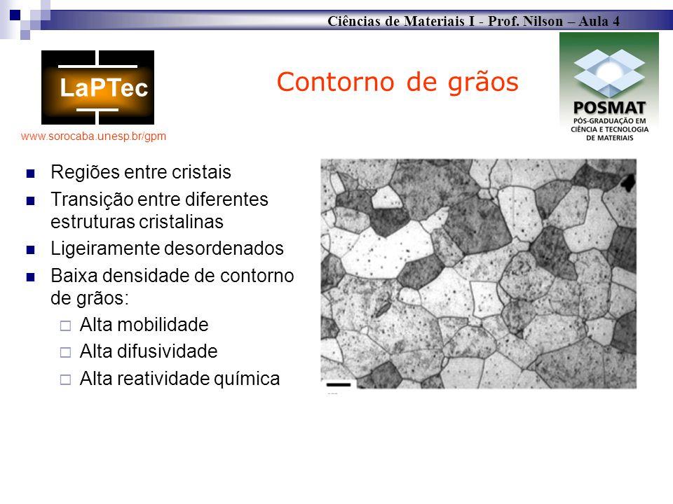 Ciências de Materiais I - Prof. Nilson – Aula 4 www.sorocaba.unesp.br/gpm Regiões entre cristais Transição entre diferentes estruturas cristalinas Lig