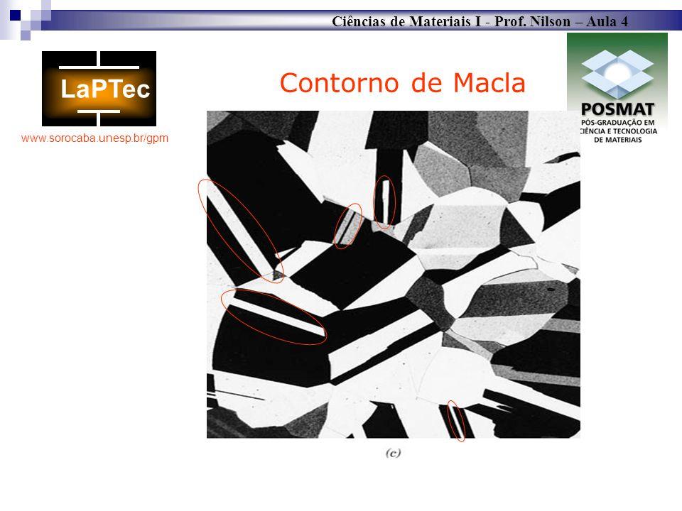 Ciências de Materiais I - Prof. Nilson – Aula 4 www.sorocaba.unesp.br/gpm Contorno de Macla