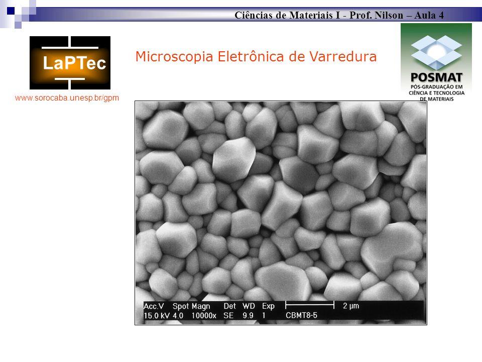 Ciências de Materiais I - Prof. Nilson – Aula 4 www.sorocaba.unesp.br/gpm Microscopia Eletrônica de Varredura