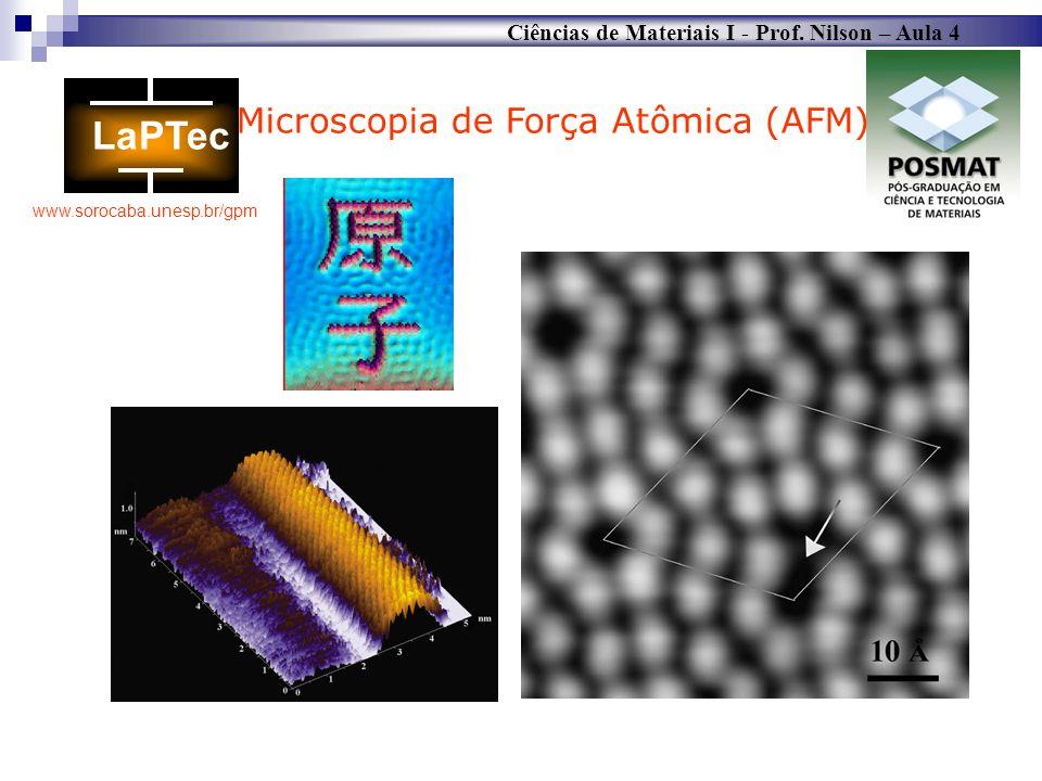Ciências de Materiais I - Prof. Nilson – Aula 4 www.sorocaba.unesp.br/gpm Microscopia de Força Atômica (AFM)