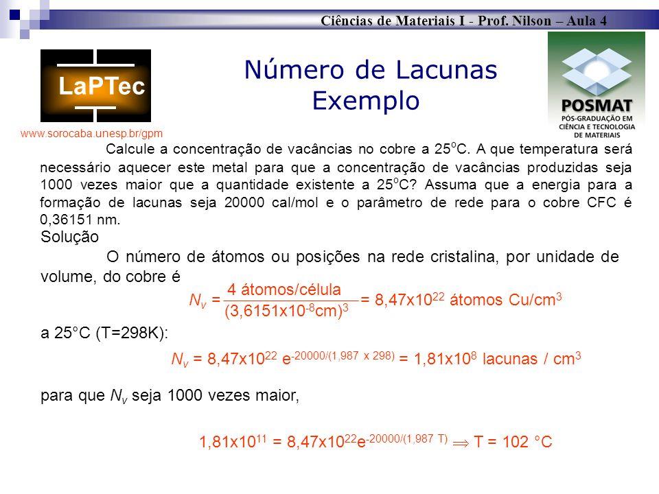 Ciências de Materiais I - Prof. Nilson – Aula 4 www.sorocaba.unesp.br/gpm Calcule a concentração de vacâncias no cobre a 25 o C. A que temperatura ser