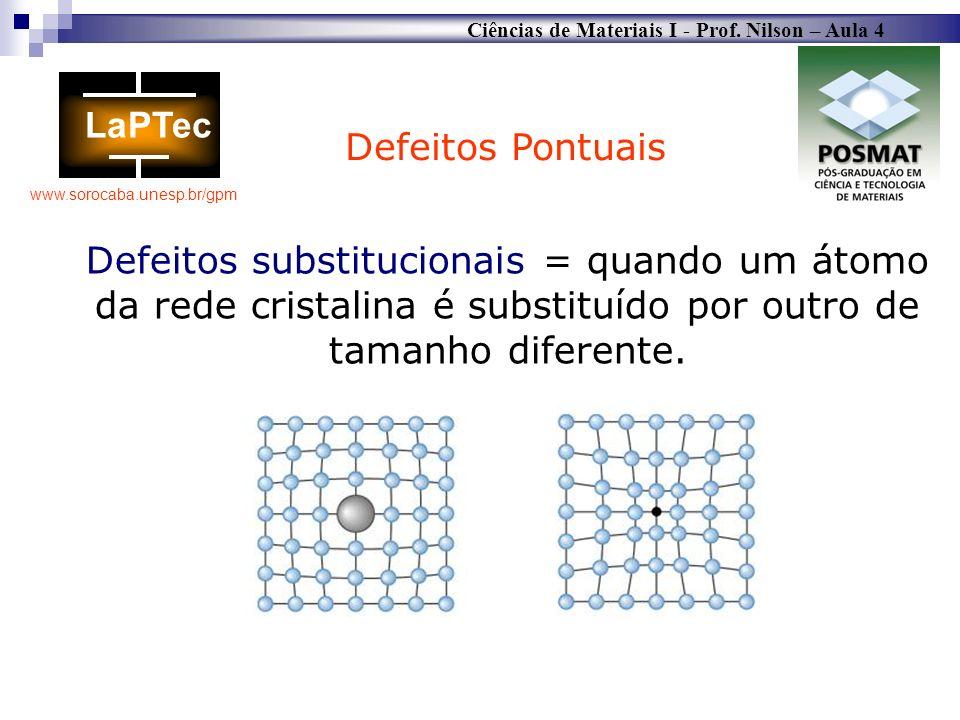 Ciências de Materiais I - Prof. Nilson – Aula 4 www.sorocaba.unesp.br/gpm Defeitos Pontuais Defeitos substitucionais = quando um átomo da rede cristal