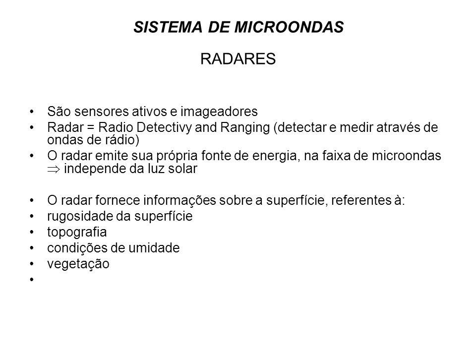 SISTEMA DE MICROONDAS RADARES São sensores ativos e imageadores Radar = Radio Detectivy and Ranging (detectar e medir através de ondas de rádio) O rad
