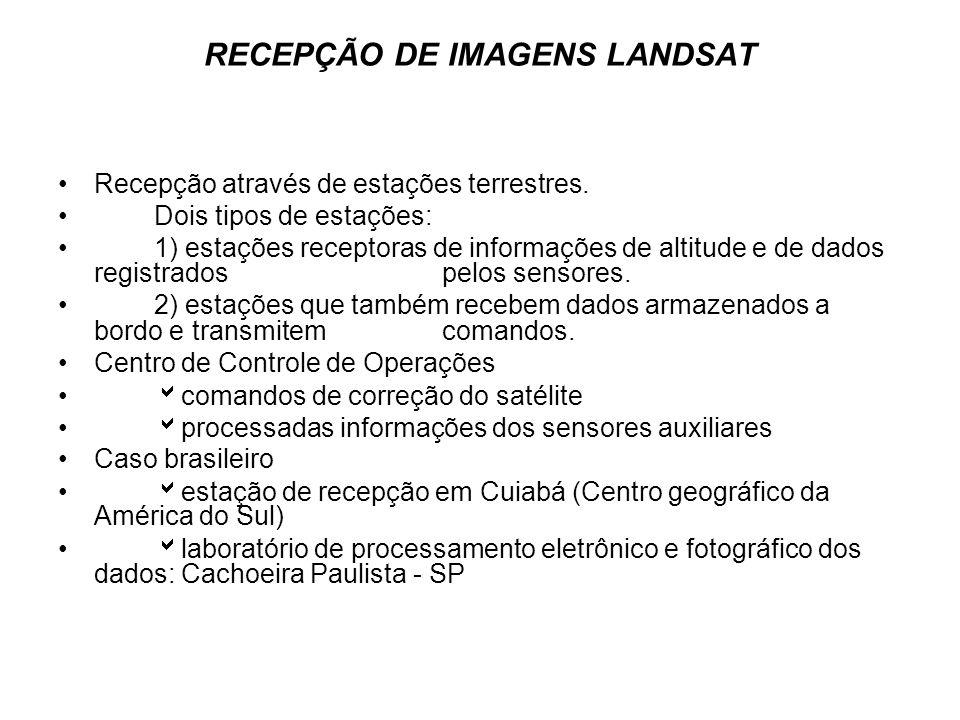 RECEPÇÃO DE IMAGENS LANDSAT Recepção através de estações terrestres. Dois tipos de estações: 1) estações receptoras de informações de altitude e de da