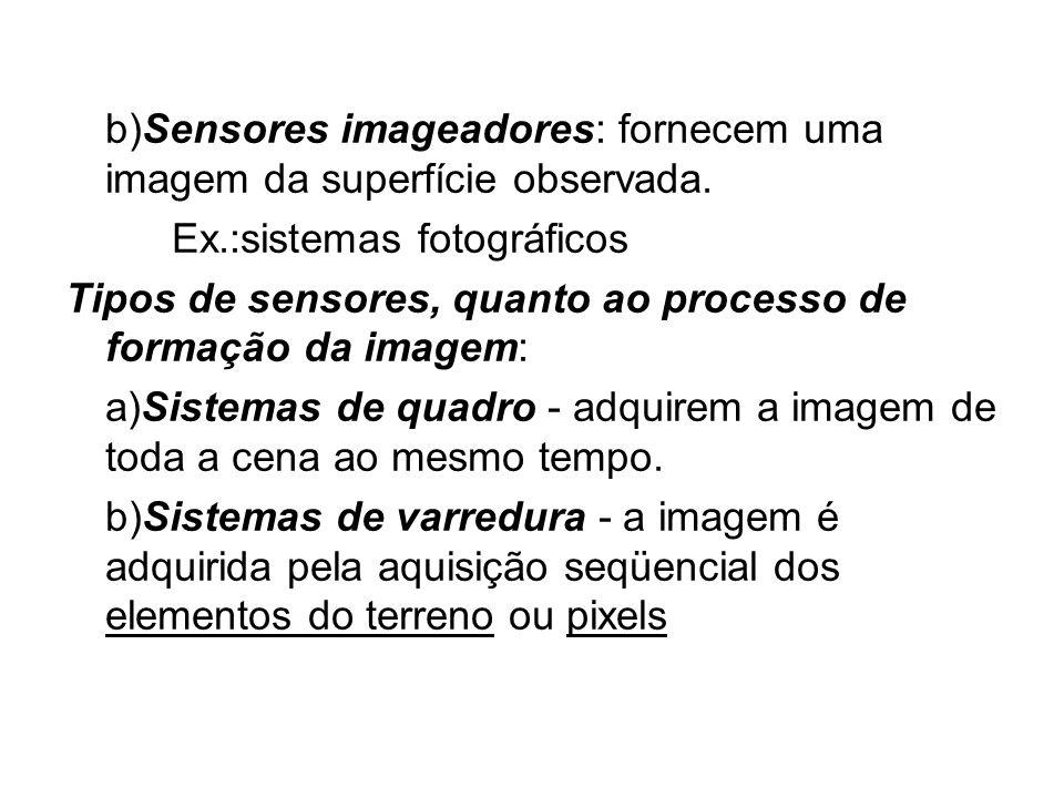 b)Sensores imageadores: fornecem uma imagem da superfície observada. Ex.:sistemas fotográficos Tipos de sensores, quanto ao processo de formação da im