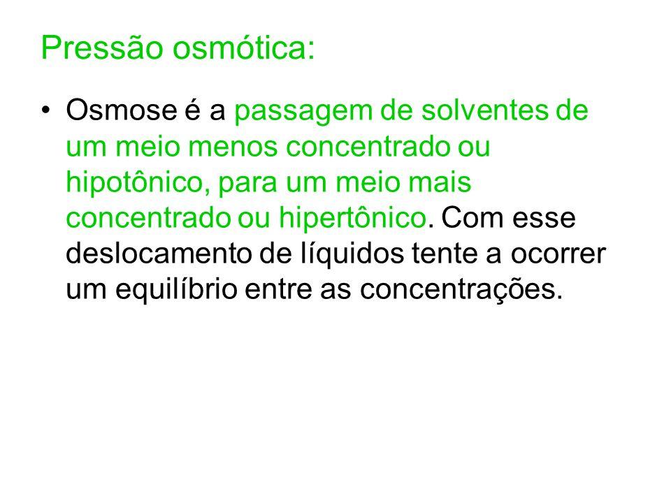 Pressão osmótica: Osmose é a passagem de solventes de um meio menos concentrado ou hipotônico, para um meio mais concentrado ou hipertônico. Com esse