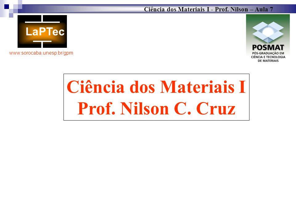 Ciência dos Materiais I - Prof. Nilson – Aula 7 www.sorocaba.unesp.br/gpm Ciência dos Materiais I Prof. Nilson C. Cruz