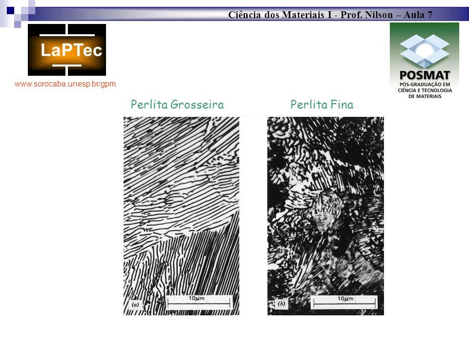 Ciência dos Materiais I - Prof. Nilson – Aula 7 www.sorocaba.unesp.br/gpm Perlita Grosseira Perlita Fina