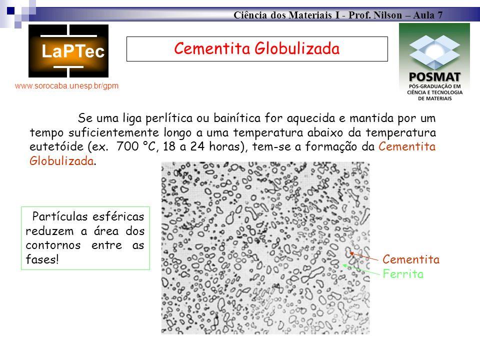Ciência dos Materiais I - Prof. Nilson – Aula 7 www.sorocaba.unesp.br/gpm Cementita Globulizada Se uma liga perlítica ou bainítica for aquecida e mant