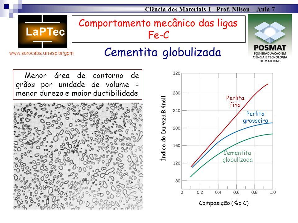Ciência dos Materiais I - Prof. Nilson – Aula 7 www.sorocaba.unesp.br/gpm Comportamento mecânico das ligas Fe-C Menor área de contorno de grãos por un