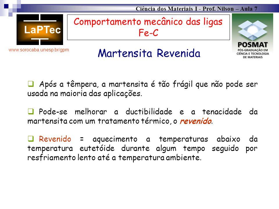 Ciência dos Materiais I - Prof. Nilson – Aula 7 www.sorocaba.unesp.br/gpm Comportamento mecânico das ligas Fe-C Martensita Revenida Após a têmpera, a