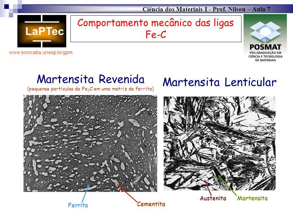 Ciência dos Materiais I - Prof. Nilson – Aula 7 www.sorocaba.unesp.br/gpm Comportamento mecânico das ligas Fe-C Martensita Revenida (pequenas partícul